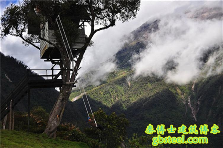 7) 世界边缘的秋千, 巴诺斯,厄瓜多尔 秋千悬挂在树屋之下,巨大的